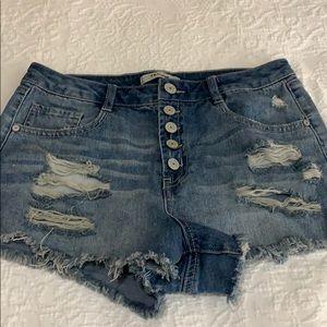 Refuge distressed cut off denim button fly shorts